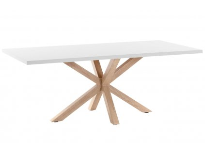 Bílý dřevěný jídelní stůl LaForma Arya 200 x 100 cm s přírodní podnoží