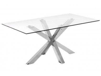 Skleněný jídelní stůl LaForma Arya 160x90 cm s lesklou kovovou podnoží