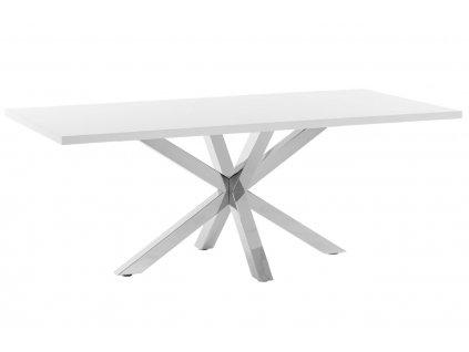 Bílý jídelní stůl LaForma Arya 160 x 100 cm s nerezovou podnoží