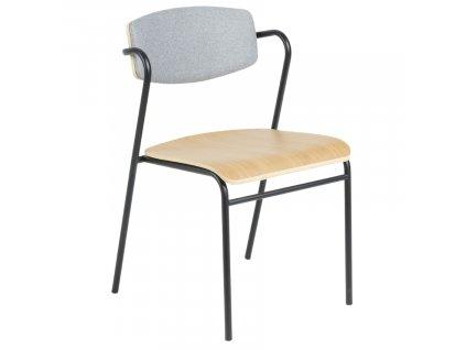 Šedá kovová jídelní židle LaForma Casper s dřevěným sedákem a čalouněným opěradlem