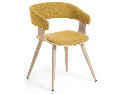 Hořčicově žlutá čalouněná jídelní židle LaForma Heiman s dubovou podnoží