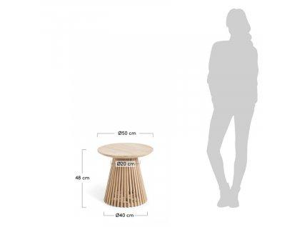 Masivní kulatý odkládací stolek LaForma Irune 50 cm