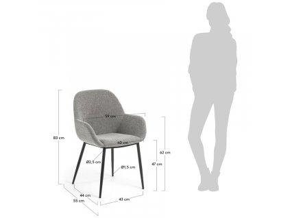 Světle šedá jídelní židle LaForma Konna s kovovou podnoží