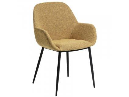 Hořčicově žlutá látková jídelní židle LaForma Konna