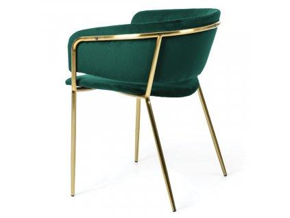 Zelená sametová jídelní židle LaForma Konnie se zlatě lakovanou kovovou podnoží