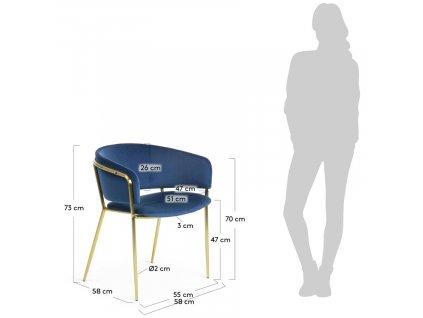 Modrá sametová jídelní židle LaForma Konnie se zlatě lakovanou kovovou podnoží