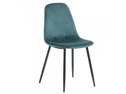 Tyrkysově zelená sametová jídelní židle LaForma Lissy