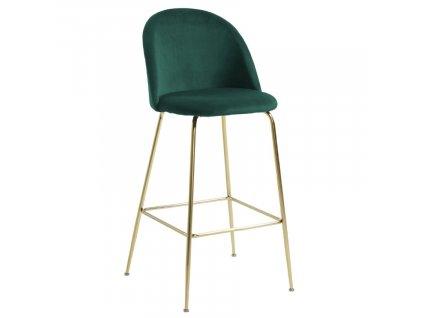 Tmavě zelená sametová barová židle LaForma Mystere 76 cm