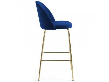 Modrá sametová barová židle LaForma Mystere 76 cm