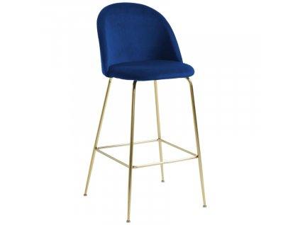 Modrá sametová barová židle LaForma Mystere 108 cm