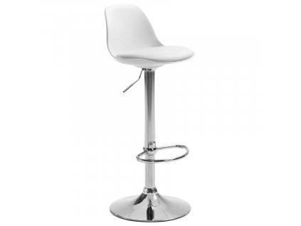 Bílá koženková barová židle LaForma Orlando 60-82 cm