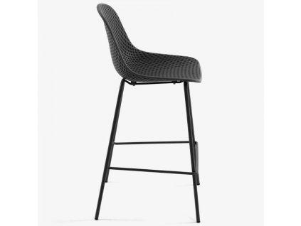 Tmavě šedá plastová barová židle LaForma Quinby 75 cm