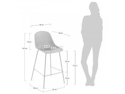 Bílá plastová barová židle LaForma Quinby s kovovou podnoží
