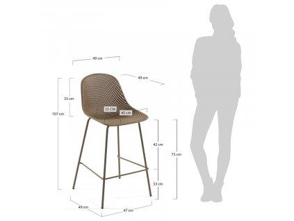 Světle hnědá plastová barová židle LaForma Quinby s kovovou podnoží