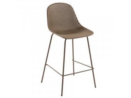Béžová plastová barová židle LaForma Quinby 75 cm