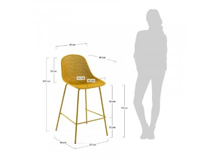Žlutá plastová barová židle LaForma Quinby s kovovou podnoží