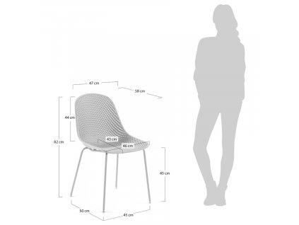 Bílá plastová jídelní židle LaForma Quinby s kovovou podnoží