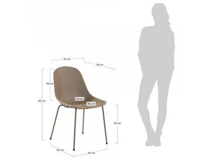 Světle hnědá plastová jídelní židle LaForma Quinby s kovovou podnoží