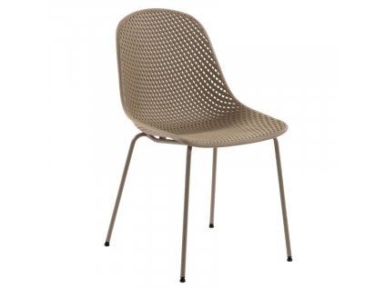 Béžová plastová jídelní židle LaForma Quinby