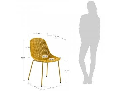 Žlutá plastová jídelní židle LaForma Quinby s kovovou podnoží