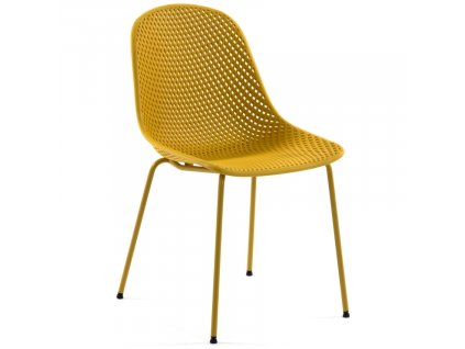 Hořčicově žlutá plastová jídelní židle LaForma Quinby
