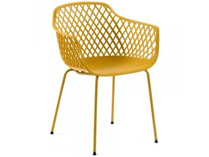 Hořčicově žlutá plastová jídelní židle LaForma Quinn s područkami