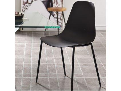 Černá plastová jídelní židle LaForma Wassu