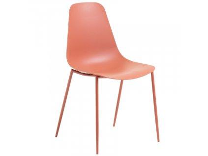 Korálově červená plastová jídelní židle LaForma Wassu