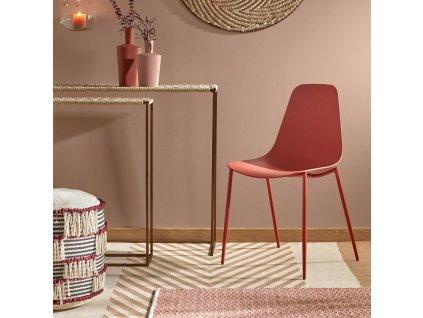 Oranžová plastová jídelní židle LaForma Wassu