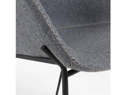 Šedá čalouněná barová židle LaForma Zadine s kovovou podnoží