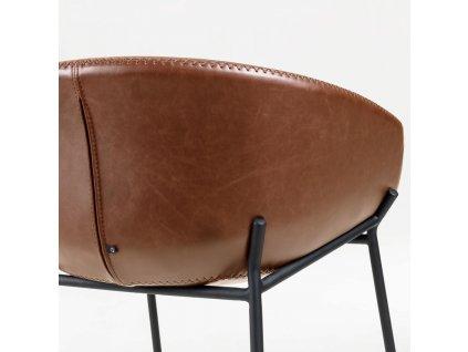 Hnědá čalouněná barová židle LaForma Zadine z ekokůže s kovovou podnoží