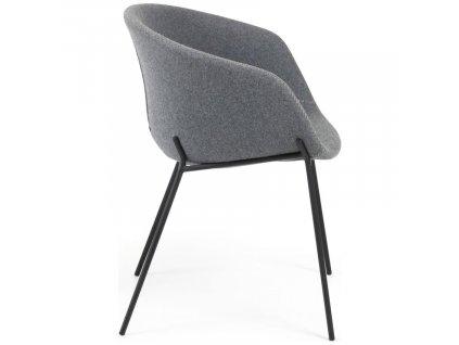 Šedá čalouněná jídelní židle LaForma Zadine s kovovou podnoží