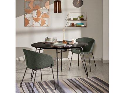 Zelená čalouněná jídelní židle LaForma Zadine s kovovou podnoží