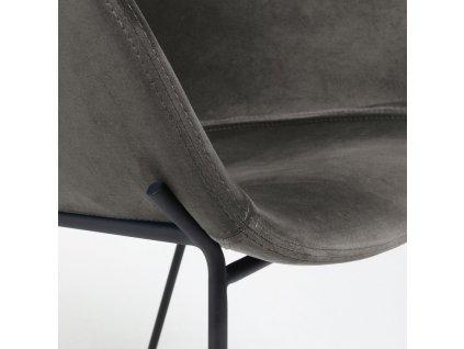 Šedá sametová jídelní židle LaForma Zadine s kovovou podnoží