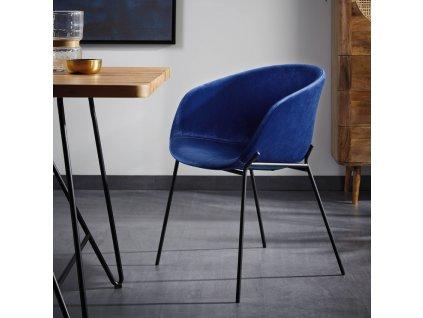 Modrá sametová jídelní židle LaForma Zadine s kovovou podnoží