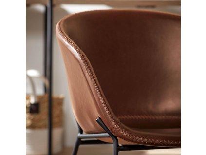 Hnědá koženková jídelní židle LaForma Zadine