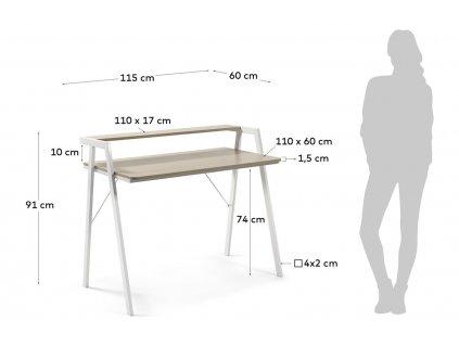 Dřevěný pracovní stůl Laforma Aarhus 114,5x60 cm s kovovou podnoží