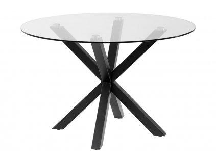 Skleněný kulatý jídelní stůl LaForma Arya O 119 cm s černou podnoží