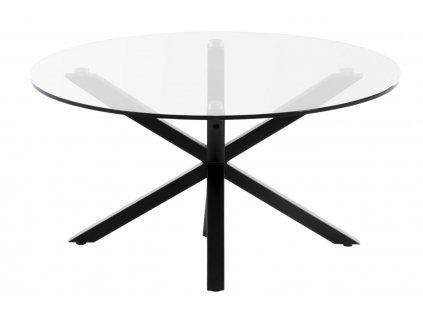 Skleněný kulatý konferenční stolek LaForma Arya Ø 82 cm s černou podnoží
