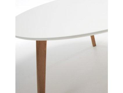 Bílý dřevěný konferenční stolek LaForma Brick 90 cm s dřevěnou podnoží