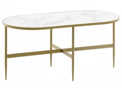 Bílý skleněný konferenční stolek LaForma Elisenda s kovovou podnoží