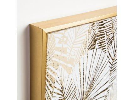 Designový obraz LaForma Ibisco s motivem zlatých listů s dřevěným rámem