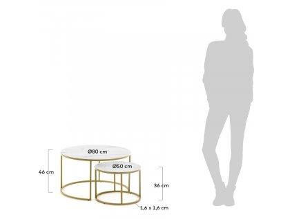 Set dvou zlatých kovových odkládacích stolků LaForma Leonor
