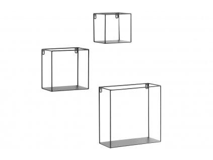 Set tří černých kovových čtvercových polic LaForma Neth