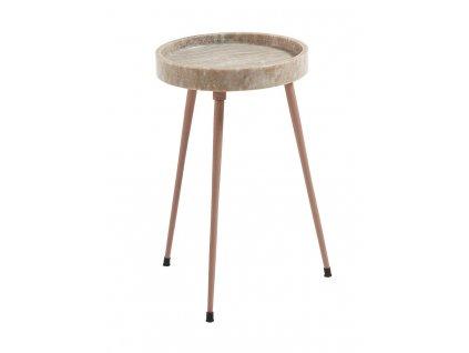 Světle hnědý mramorový odkládací stolek Rubie, trojnožka, lakovaná kovová podnož