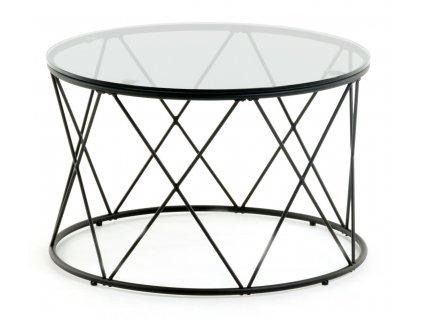 Černý skleněný konferenční stolek LaForma Sisita 60 cm s kovovou podnoží