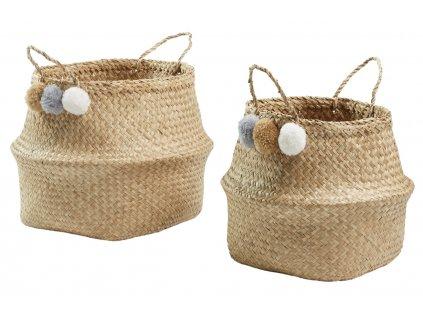 Set dvou přírodních slaměných košíků LaForma Sofly s bambulkami