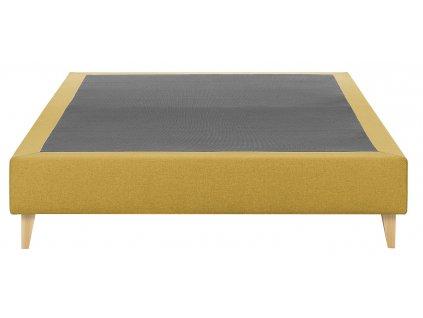 Hořčicově žlutá čalouněná postel LaForma Nikos 140x190 cm s dřevěnou podnoží