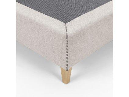 Béžová čalouněná postel LaForma Nikos 150x190 cm s dřevěnou podnoží