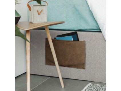 Béžová čalouněná postel LaForma Matters 150x190 cm s úložným prostorem